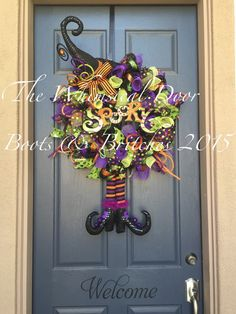 Witch Hat and Boots Halloween Wreath Witch Hat by TheWhimsicalDoor