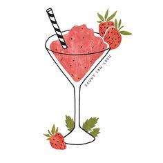 Frozen cocktail illustrations for Professor Grunschnabel (vegan ice cream) by Sanny van Loon | gif | illustration | Strawberry Daiquiri | White Elephant | Gin Tonic | Scroppino