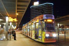 Rondo Reagana Light Rail, Poland, Street View, Train, Night, City, World, Thailand, Cities