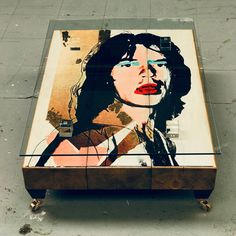 This fabulous Jagger Coffee Table by Cappa E Spada features an original painting of the inimitable Mick Jagger handcrafted onto reclaimed sleepers, sat on brass feet, crystal block supports and finished off with a glass top. Unique Coffee Table, Glass Top Coffee Table, Living Room Inspiration, Home Decor Inspiration, Original Artwork, Original Paintings, Acrylic Furniture, Decorating Coffee Tables, Bespoke Furniture