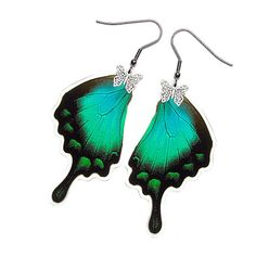 Buy 2 Get 1 Free  Handmade  Real Butterfly Wing Earrings by mybugs