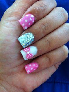 Pink minnie nails nails for kids, girls nails, kid nails, disneyland Mickey Nails, Minnie Mouse Nails, Pink Minnie, Fancy Nails, Pink Nails, Cute Nails, Pretty Nails, Nails For Kids, Girls Nails
