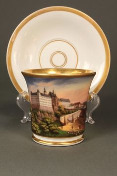 Royal Berlin KPM Porcelain scenic Cup and Saucer : Lot 211