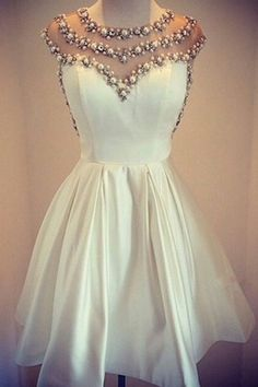 homecoming dress,short prom dress,white homecoming dress,cute homecoming dress,homecoming dress with pearls