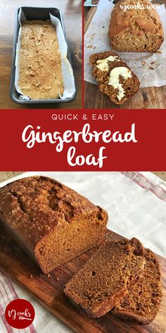 This is the best Gingerbread Loaf recipe you'll ever make. It's perfectly moist and makes a great treat for morning tea or toasted with butter for breakfast. You can't beat this delicious Gi… Loaf Recipes, Baking Recipes, Cake Recipes, Yummy Recipes, Dessert Recipes, Yummy Food, Ginger Bread Loaf, Banana Bread, Fruit Bread