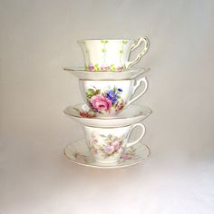 Lot of China Teacups / Floral Teacups Instant Tea Party / Lot of 3 by EllasAtticVintage on Etsy Teacups, Vintage Home Decor, Tea Party, China, Store, Unique Jewelry, Tableware, Handmade Gifts, Floral