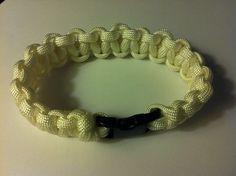 Para cord braided bracelet, White, 8.5 in (P007) on Etsy, $7.50