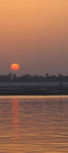 India, Varanasi. 2012 Sunrise on the Ganges River also known as Ganga River in Uttar Pradesh