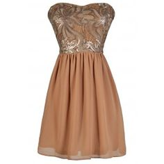 Mocha Sequin Dress, Taupe Sequin Dress, Mocha A-Line Party Dress, Taupe A-Line Party Dress, Mocha Cocktail Dress, Taupe Cocktail Dress, Cute Holiday Dress, Cute New Years Dress