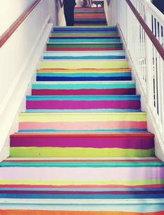 Painted Stairs With Vibrant Wallpapers