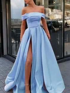 Classy Prom Dress, Fashion A-Line/Princess Sleeveless Off-the-Shoulder Sweep/Brush Train Ruffles Satin Dresses Fashion A-Linie / Princess-Linie Ärmellos Schulterfrei Sweep / Pinsel zug Rüschen Satin Kleider Prom Dresses With Pockets, Straps Prom Dresses, Cute Prom Dresses, Sweet 16 Dresses, Women's Dresses, Satin Dresses, Strapless Dress Formal, Wedding Dresses, Elegant Dresses
