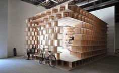 Slovenia built a habitable structure with latticed wooden bookshelves