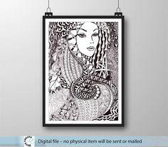 large Printable Art. Hand Painting Wall decor. Beautiful girl. 60x42 cm. Instant Download. Kids Room Wall Decor. Nursery art. Zen art style