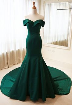 Elegant Mermaid Off Shoulder Sleeves Dark Green Evening #prom #promdress #dress #eveningdress #evening #fashion #love #shopping #art #dress #women #mermaid #SEXY #SexyGirl #PromDresses