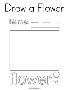 Draw a Flower Coloring Page - Twisty Noodle Coloring Pages Nature, Spring Coloring Pages, Flower Coloring Pages, Coloring Pages For Kids, Flower Names, Kids Prints, Cursive, Noodle, Worksheets