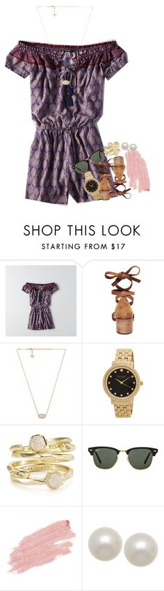 """going to the lake today"" by ellaswiftie13 ❤ liked on Polyvore featuring American Eagle Outfitters, Steve Madden, Kendra Scott, Kate Spade, Ray-Ban, Jane Iredale and Honora"