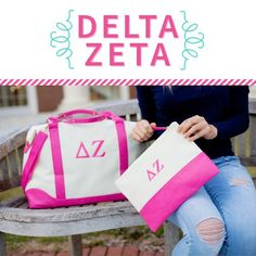 Our popular canvas weekend duffel with hot pink leather like trim boasts your sorority monogram This sturdy bag is great for over night trips or a weekend