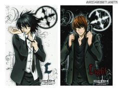 The one on the left is L Lawliet and the one on the right is Light Yagami aka Kira from Death Note Death Note Anime, Death Note デスノート, Death Note Light, Otaku Anime, Anime Manga, Anime Art, Kuroko, L X Light, Comics