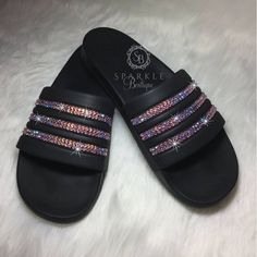 more photos 164c4 7284a Swarovski adidas Slides, PINK, Bedazzled, Adilette Cloudfoam Ultra, Custom,  adidas Bling, All Sizes,
