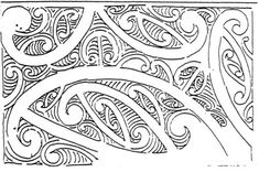 Whakairo design (no details) ink sketch (part of letter) Alexander Turnbull Library Robley-Mair; qMS/1898–1922 Robley's drawings of such patterns typically record the lines of the uhi (chisel) as part of the design. The design reproduced above is likely to be an 'invention' of Robley's.
