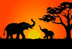 Illustration about Silhouettes of elephants. Illustration of silhouette, africa, shape - 1370450 Elephant Silhouette, Animal Silhouette, Sunset Silhouette, Silhouette Painting, Acrylic Painting Canvas, Canvas Art, Beautiful Landscape Wallpaper, African Sunset, Elephant Illustration