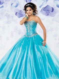 Blue Quinceanera Dresses - Blue Turquoise Dress With Sparkly Bodice