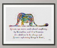 Der kleine Prinz Boa und Elefant Zitat Aquarell Kunst von CocoMilla