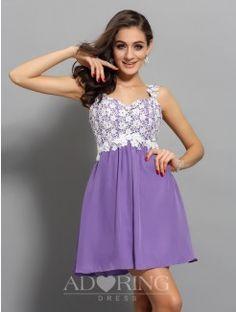A-Line Applique Straps Sleeveless Chiffon Short Dress