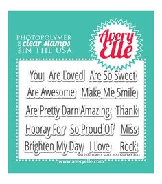 "Avery Elle Clear Stamp Set 4""X3""-Simply Said"