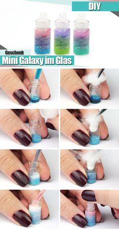 Mini Galaxy in der Flasche DIY Anleitung #DIY #anielasfimo #basteln #galaxy
