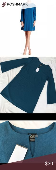 Blue teal shift dress Medium bell sleeves Bobeau New with tags Crew neck  - Bell sleeves  - Keyhole front cutout with button loop closure  - Banded trim  - Slips on over head  - Shift silhouette  - 100% polyester  - Comes from a pet free smoke free home. Bobeau Dresses Mini