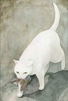 Cats in Art and Illustration: Midori Yamada Art And Illustration, Illustrations, I Love Cats, Crazy Cats, Image Chat, Art Watercolor, White Cats, Black Cats, Cats And Kittens