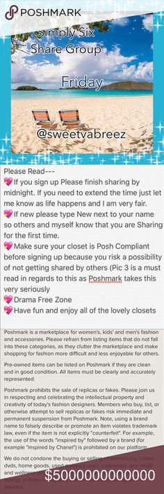 🍮OPEN FRIDAY SIGN UP🍮 🎉Welcome to my Simply Six Share Group 🎉Tag your name (ex @obxy4u)  🎉Share Top 6 available listings from each closet.  🎉DON'T share SOLD ITEMS 🎉DON'T SHARE SALE SIGNS UNLESS IT'S AT A POSHER REQUEST 🎉To mark your spot  place *** before last poshers name (ex ***obx) 🎉If new to my Group, type (New) by your name.  🎉Early Shares Welcome 🎉Shares must be completed by Midnight Your time 🎉Sign up closes at 4 PM EST 🎉You may Sign out after I close  🎉Use the Q&A…