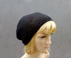 Knit hat, knitted lace cotton beanie, knitting summer cap, black hat, women slouche, knit accessories, small slouche, handmade clothing, tam by peonijahandmadeshop on Etsy