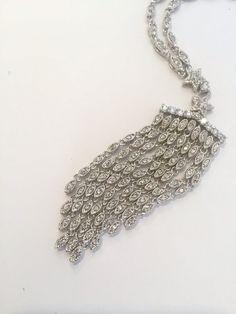 Long White Stone Necklace Diamond Tassel by WOWTHATSBEAUTIFUL