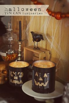 Halloween Tin Can Luminaries - these are super cool and surprisingly easy to make for some DIY Halloween decor! They make great Fall decor too!