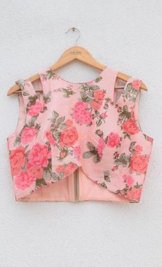 Floral crop top with thread embroidered lehenga - Designer Dresses Couture Saree Jacket Designs, Choli Blouse Design, Choli Designs, Designer Blouse Patterns, Fancy Blouse Designs, Fancy Top Design, Blouse Designs Catalogue, Crop Top Designs, Stylish Blouse Design
