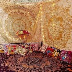 Indian wall Tapestry Gold Mandala Tapestry Psychedelic Tapestry wall hanging Lotus Tapestry Bohemian Hippie Floral Dorm Tapestry Boho decor by MultimateCollection on Etsy