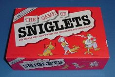 """Sniglets - Created by Stand-Up Comedian Rich Hall....it's a game of made-up words...like """"Glintlets"""", those bumper guards on the bottom of the toilet seat!"""