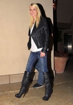 Tara Reid in Jeans and Knee High Boots at Bouchon in Beverly Hills, January 2016 #highheelbootsandjeans