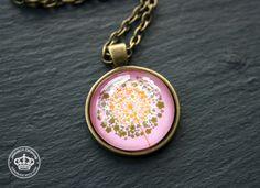Vintage Halskette * Pusteblume * rosa