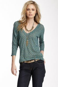 Lucky Brand Tie Back Printed Top