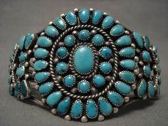 "EARLY VINTAGE NAVAJO ""SATELLITE TURQUOISE"" SILVER BRACELET OLD"