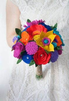 Felt Flower Wedding Bouquet   Jewel Tone by SugarSnapBoutique