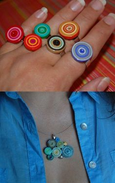 cute and colorful paper jewelry