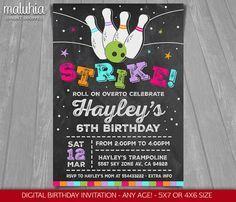 Printable Chalkboard Bowling Ticket Birthday Invitation  Digital