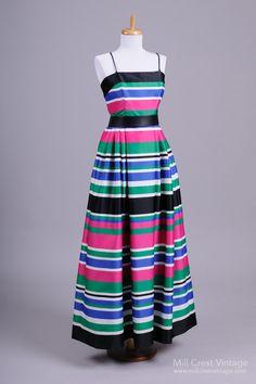 1970's Color Blocked Vintage Evening Gown : Mill Crest Vintage