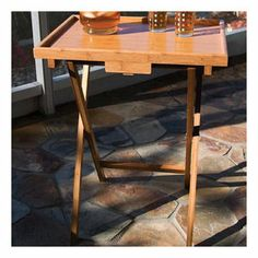 Folding TV Tray Table with Lip (Set of 4)
