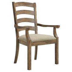 "Lend a touch of country-chic charm to your dining room or parlor with this ash wood arm chair, showcasing a slatted back and an upholstered seat.    Product: ChairConstruction Material: Ash wood, oak veneers and fabric Color: Warm latte Features:  Slatted back Dimensions: 42.5"" H x 22"" W x 27.5"" D"
