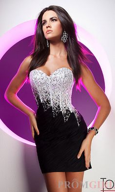 Short Strapless Black and White Dress by Tony Bowls